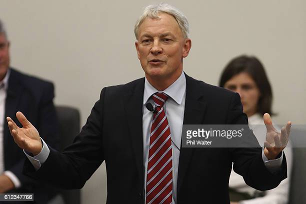 Auckland Mayoral candidate Phil Goff speaks during a debate on Sport and Recreation at the AUT Akoranga Campus on October 4, 2016 in Auckland, New...