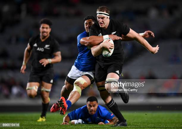 Auckland New Zealand 16 June 2017 Brodie Retallick of New Zealand is tackled by Alafoti Faosiliva of Samoa during the International Test match...