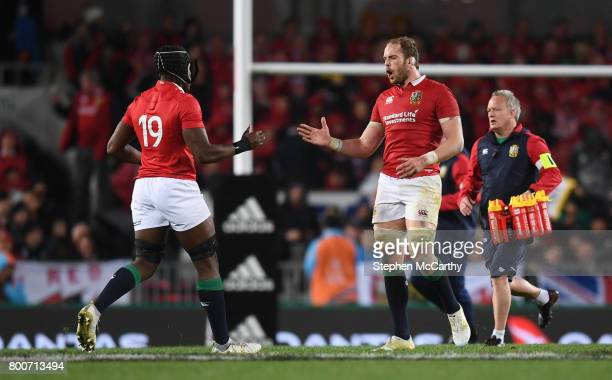 Auckland New Zealand 24 June 2017 Alun Wyn Jones is replaced by his British and Irish Lions teammate Maro Itoje during the First Test match between...