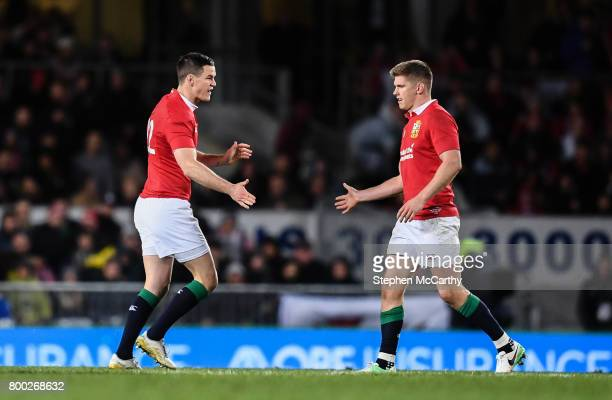 Auckland New Zealand 24 June 2017 Jonathan Sexton left and Owen Farrell of the British Irish Lions during the First Test match between New Zealand...