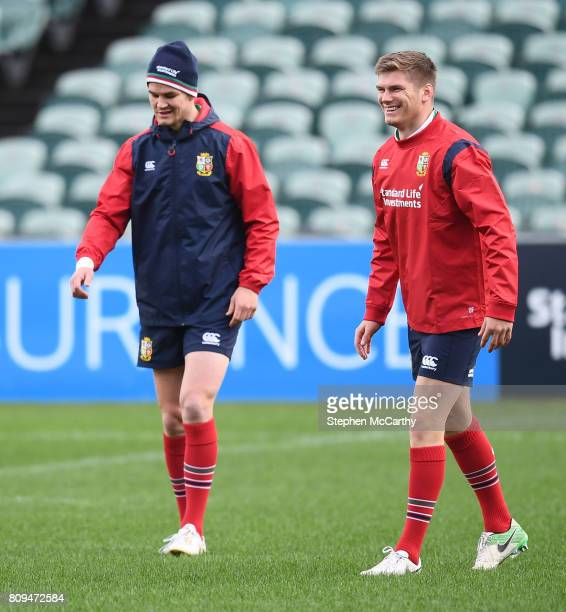 Auckland New Zealand 6 July 2017 Owen Farrell right and Jonathan Sexton during a British and Irish Lions training session at QBE Stadium in Auckland...