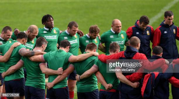 Auckland New Zealand 6 June 2017 British and Irish Lions players from left Ken Owens James Haskell Maro Itoje Jack McGrath Leigh Halfpenny Rory Best...
