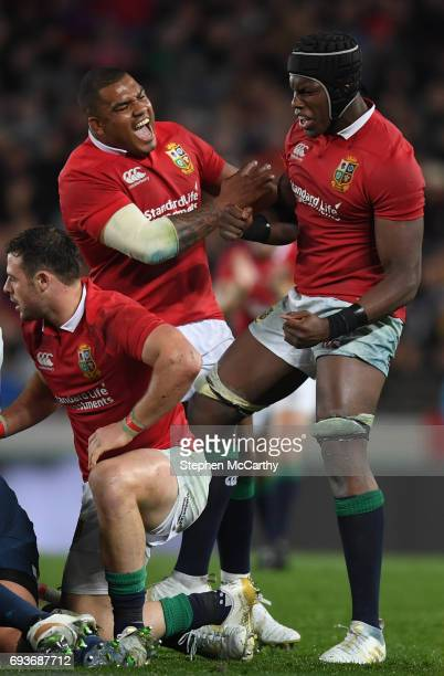 Auckland New Zealand 7 June 2017 Kyle Sinckler left and Maro Itoje of the British Irish Lions celebrate a turnover during the match between Auckland...
