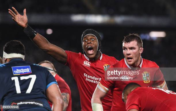 Auckland New Zealand 7 June 2017 Maro Itoje of the British Irish Lions during the match between Auckland Blues and the British Irish Lions at Eden...