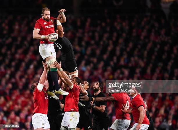 Auckland New Zealand 8 July 2017 Alun Wyn Jones of the British Irish Lions takes possession in a lineout ahead of Ardie Savea of New Zealand during...