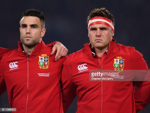 Auckland New Zealand 8 July 2017 Conor Murray and CJ Stander of the British Irish Lions during the Third Test match between New Zealand All Blacks...
