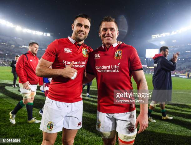 Auckland New Zealand 8 July 2017 Conor Murray left and CJ Stander of the British Irish Lions following the Third Test match between New Zealand All...