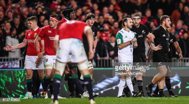 Auckland New Zealand 8 July 2017 Kieran Read of New Zealand speaks to referee Romain Poite after the final whistle during the Third Test match...