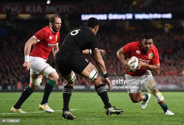 Auckland New Zealand 8 July 2017 Mako Vunipola with the support of his British and Irish Lions teammate Alun Wyn Jones in action against Jerome Kaino...