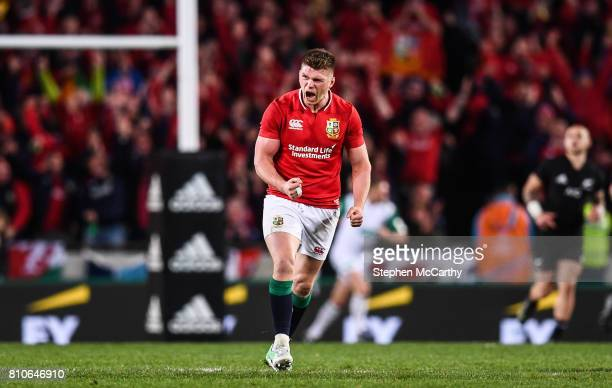 Auckland New Zealand 8 July 2017 Owen Farrell of the British and Irish Lions celebrates after kicking a penalty during the Third Test match between...