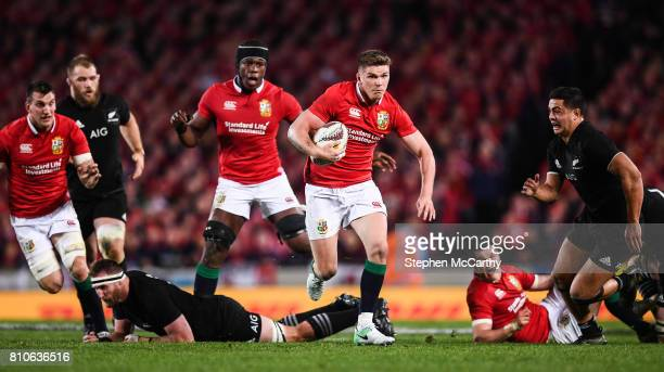 Auckland New Zealand 8 July 2017 Owen Farrell of the British Irish Lions makes a break during the Third Test match between New Zealand All Blacks and...