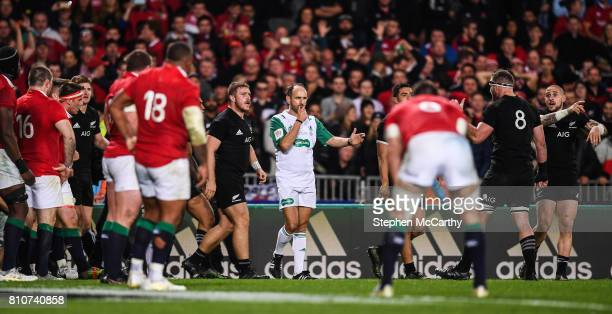 Auckland New Zealand 8 July 2017 Referee Romain Poite blows the final whistle during the Third Test match between New Zealand All Blacks and the...
