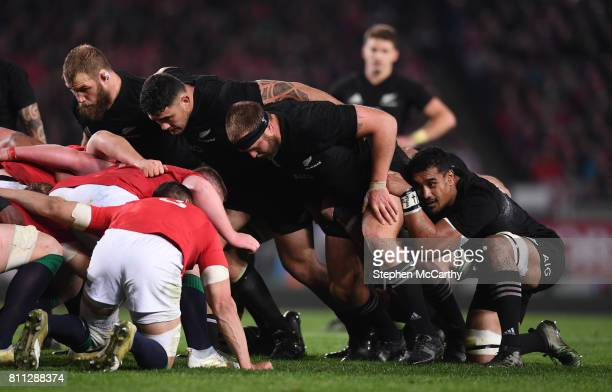 Auckland New Zealand 8 July 2017 The New Zealand pack including Joe Moody Codie Taylor Owen Franks and Jerome Kaino prepare to engage in a scrum...