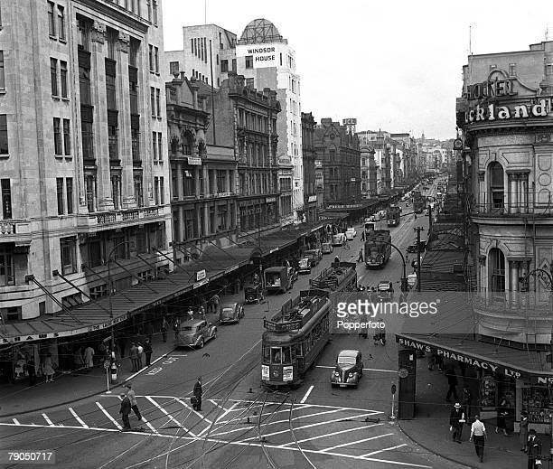 1948 Auckland New Zealand A picture of the busy Queen Street in Auckland with electric trams and other traffic