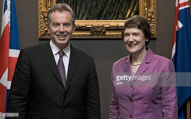 Auckland, NEW ZEALAND: British Prime Minister Tony Blair and New Zealand Prime Minister Helen Clark pose before their bilateral talks in Auckland, 29...