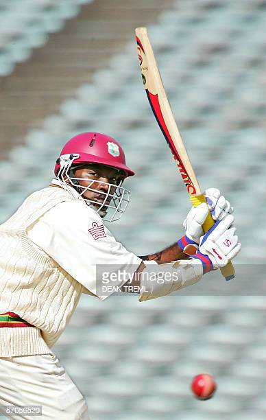 Chris Gayle of the West Indies plays a shot down leg for 2 runs during day three of the 1st test of the three test series between New Zealand and the...
