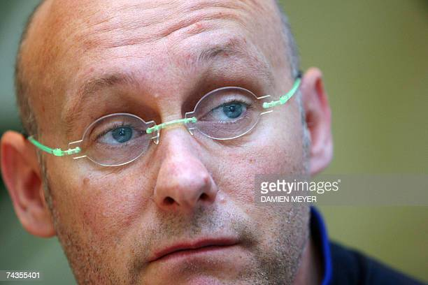 France's head coach Bernard Laporte gives a press conference for the team announcement at his hotel in Auckland 30 May 2007 France will play against...