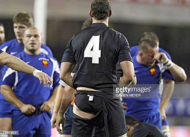 New Zealand's Chris Jack stands up with torn shorts during the rugby union match between New Zealand and France at Eden Park in Auckland 02 June 2007...