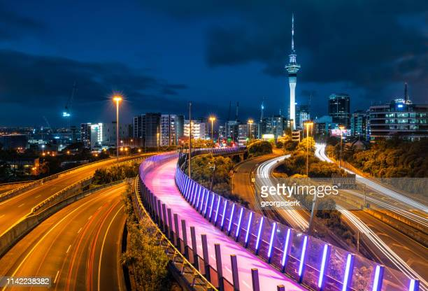 auckland night perspective - auckland stock pictures, royalty-free photos & images