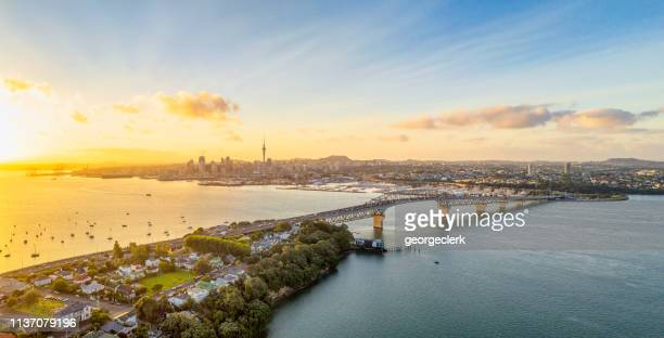 auckland panorama at sunrise - built structure stock pictures, royalty-free photos & images