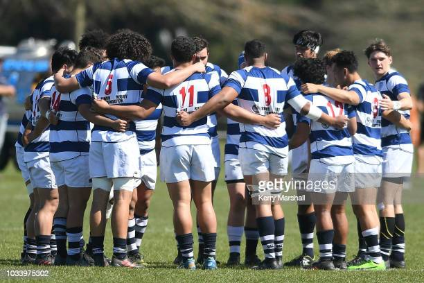 Auckland players huddle before their match against Tasman during the Jock Hobbs U19 Rugby Tournament on September 15 2018 in Taupo New Zealand