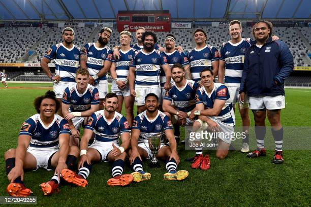 Auckland pose for a photo after winning the Lin Colling memorial trophy following the round 1 Mitre 10 Cup match between Otago and Auckland at...