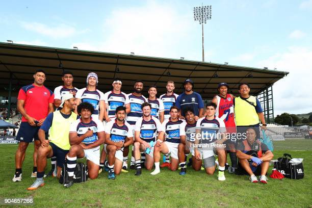 Auckland pose for a team photo after losing the Bayleys National Sevens Plate Final match between Bay of Plenty and Auckland at Rotorua International...