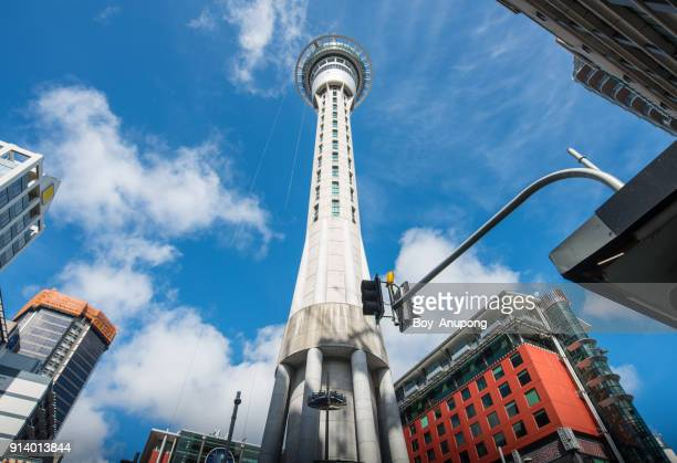 Auckland sky tower an iconic observation landmark in Auckland, New Zealand.