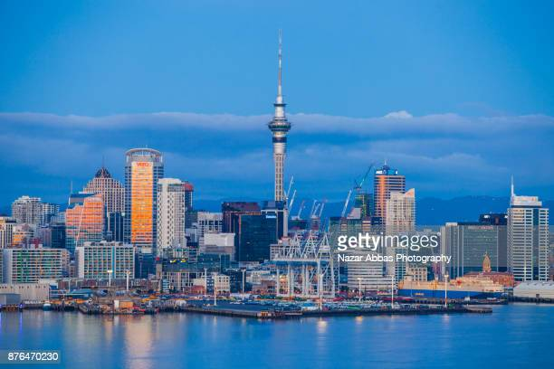 Auckland skyline at dusk.