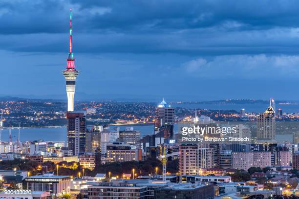 Auckland skyline at night, view from Mt Eden, North Island, New Zealand