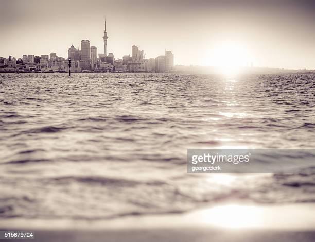 Auckland skyline at sunset - monochrome