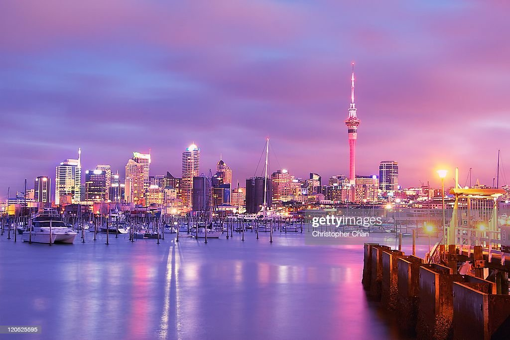 Auckland skyline at sunset : Stock Photo