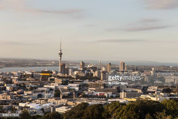 Auckland skyline from Mount Eden in New Zealand