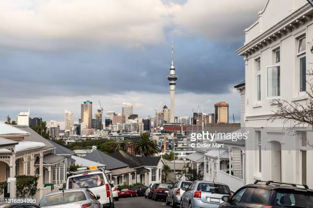 auckland skyline from ponsonby hill in new zealand - housing difficulties stock pictures, royalty-free photos & images