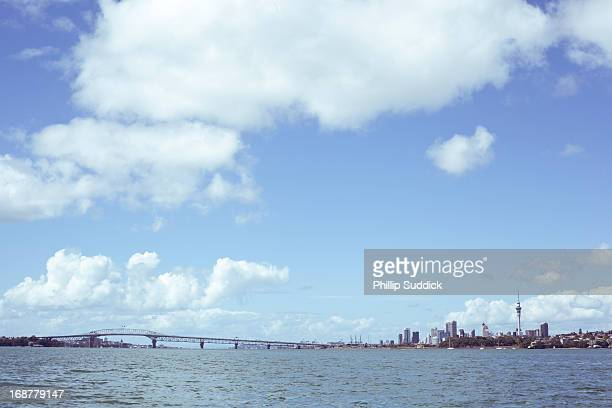 auckland skyline from waitemata harbour - waitemata harbor stock photos and pictures