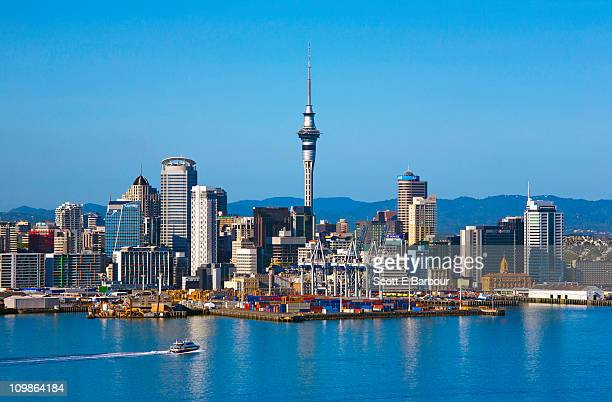 auckland skyline with sky tower - auckland stock pictures, royalty-free photos & images