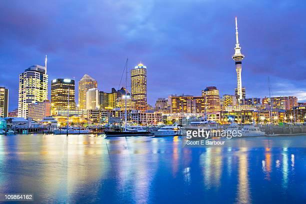 Auckland skyline with Sky Tower. Viaduct Basin