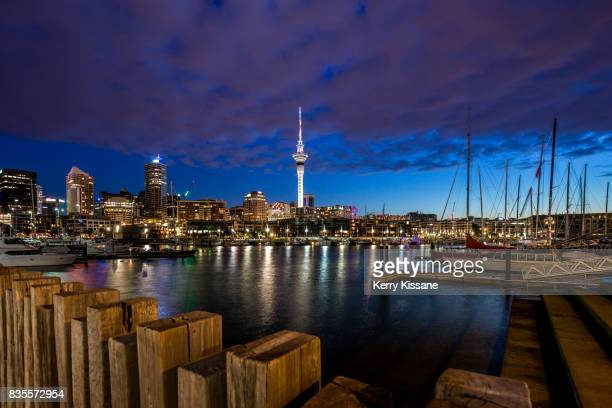 auckland viaduct at twilight - auckland stock pictures, royalty-free photos & images