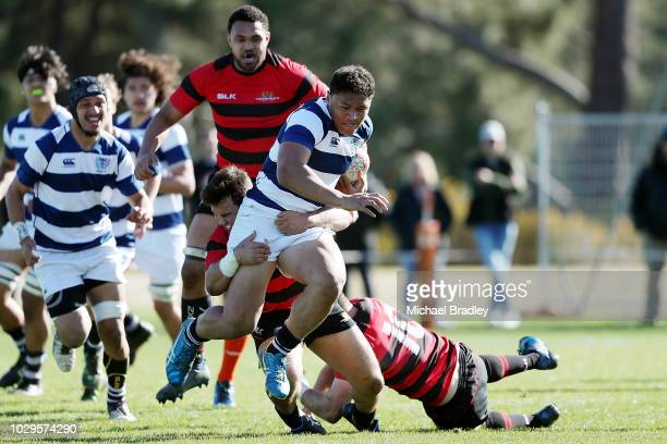 Auckland's Caleb Clarke is tackled ball during the Auckland U19A v Canterbury match during the Jock Hobbs Memorial National U19 Tournament on...