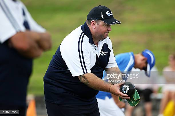 Auckland's Dan Delany competes in the fours final against Canterbury during the Bowls New Zealand Intercentre at Howick Bowling Club on April 3 2016...