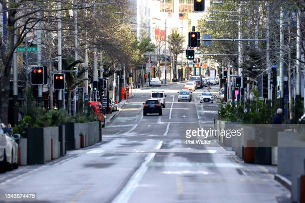 Aucklands Queen Street is pictured on September 29, 2021 in Auckland, New Zealand. 45 new COVID-19 cases have been recorded in New Zealand in the...