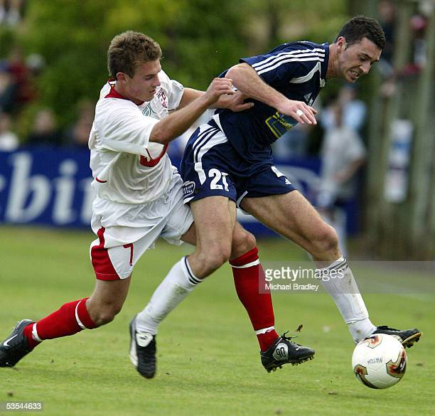 Auckland's Riki van Steeden and Waitakere's Allan Pearce compete for the ball during the NZFC soccer grand final between Auckland City FC and...