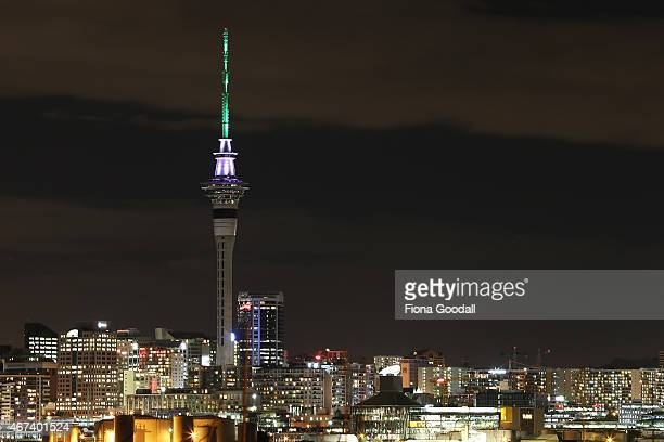 Auckland's Sky Tower is lit up with the colours of South Africa and New Zealand to commemorate the 2015 Cricket World Cup semi final at Eden Park on...