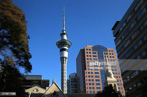 Auckland's Sky Tower is seen ahead of the FIFA U20 World Cup on May 28 2015 in Auckland New Zealand