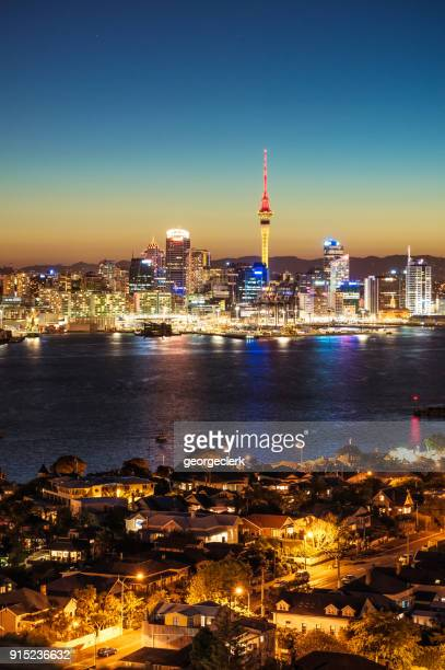 auckland's skyline at dusk - waitemata harbor stock photos and pictures