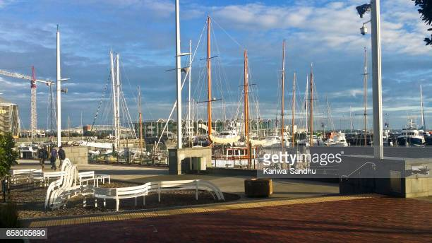 Auckland's Viaduct Harbour with sailing yatches and events center in background