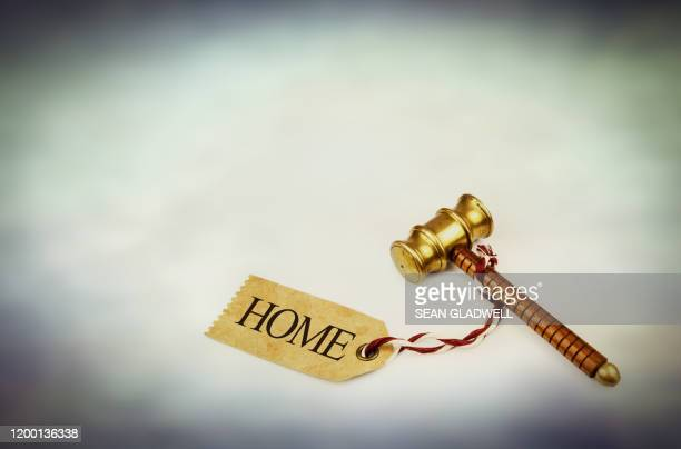 auction hammer and home label - bid stock pictures, royalty-free photos & images