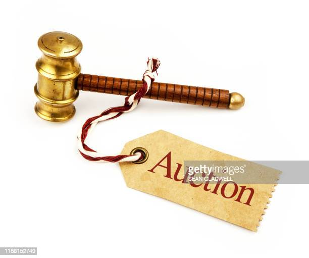 auction hammer and label - bid stock pictures, royalty-free photos & images