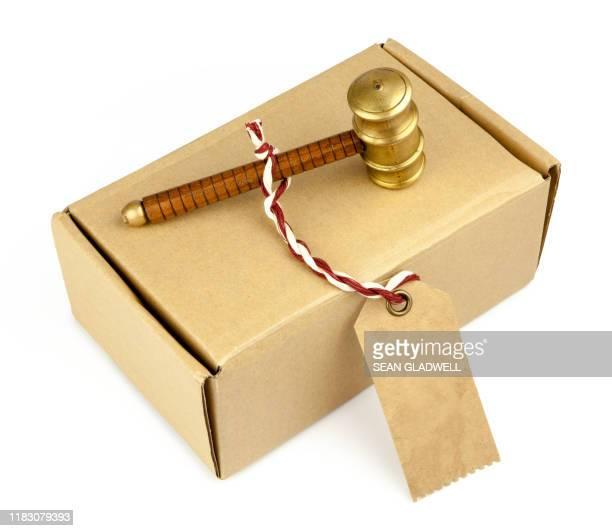 auction hammer on box - bid stock pictures, royalty-free photos & images