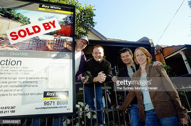 Auction of 3 bedroom property at number 56 Elswick St Leichardt which sold for $77000 Picture shows from left vendors Frank Garfield and David Butler...